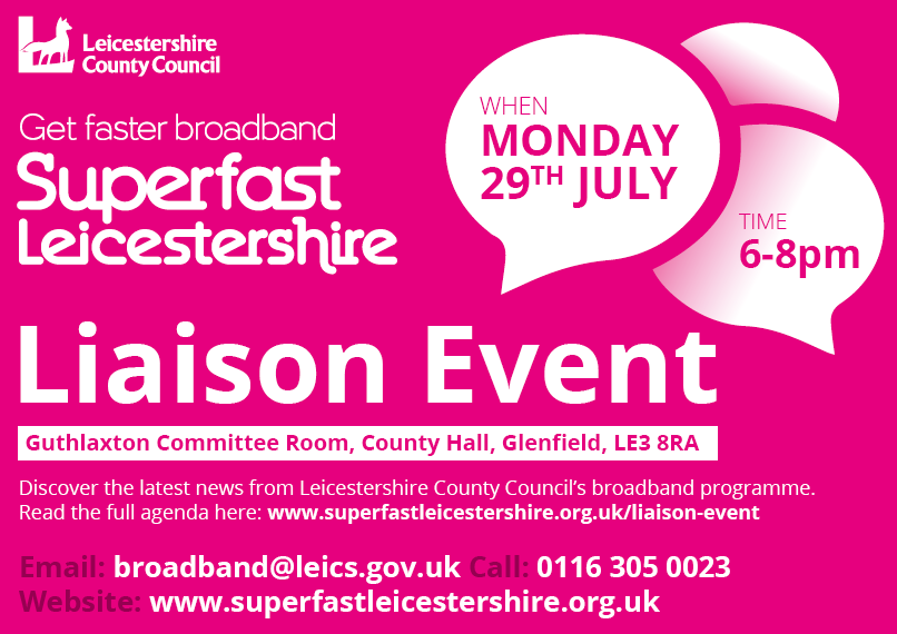 Advert for superfast leicestershire liaison event